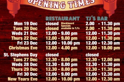 The Lime Kiln Christmas Opening times