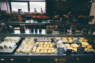 The Pantry deli counter featuring homemade pies, sandwiches, wraps, sausage rolls