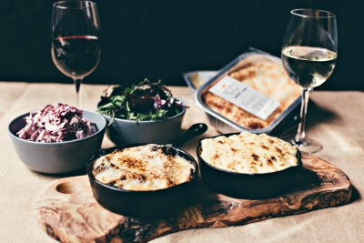 Take-home meals for 2 from The Pantry featuring main course and bottle of wine or 2 craft beers