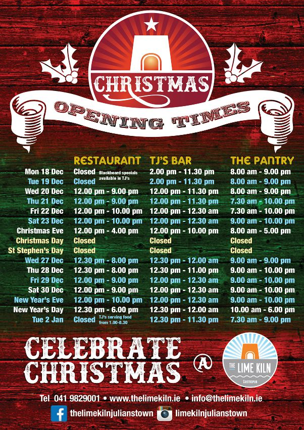 Check out our opening times for Christmas and the New Year 2017