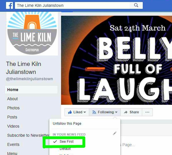 Tell Facebook you want to see stories from The Lime Kiln